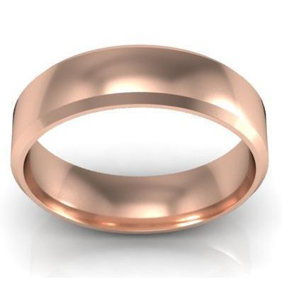 Classic Gold Bevel Band 5mm Plain Wedding Rings deBebians