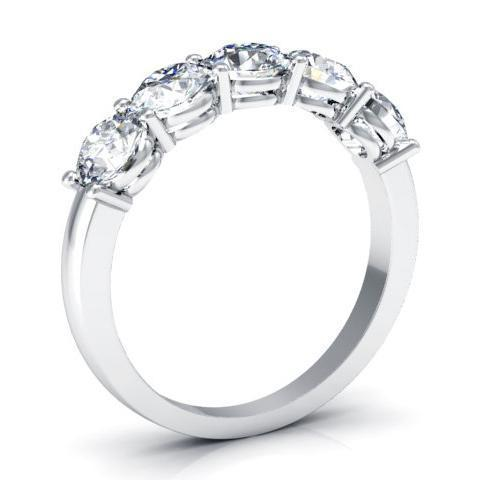 1.50cttw Shared Prong Round Diamond Five Stone Ring Five Stone Rings deBebians