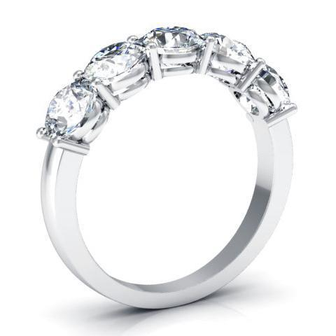 2.00cttw Shared Prong Round Diamond Five Stone Ring Five Stone Rings deBebians