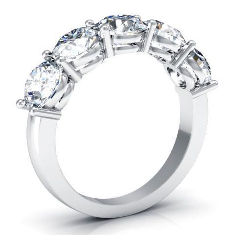 3.00cttw Shared Prong Round Diamond Five Stone Ring Five Stone Rings deBebians