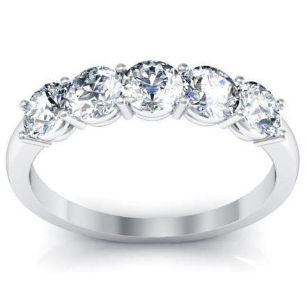 Bar Set 5 Stone Ring Round Cut Diamond