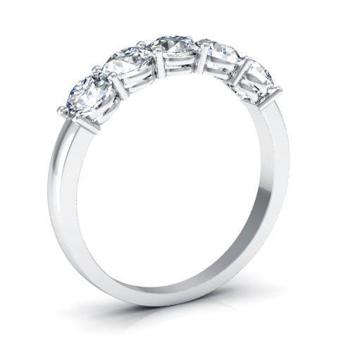 1.00cttw Shared Prong Round Diamond Five Stone Ring Five Stone Rings deBebians