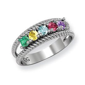 14k Mother's Personalized Ring with Three Birthstones