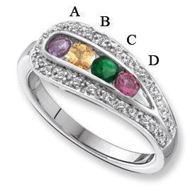 14 Karat Gold Mother's Ring with Three Birthstones and Engraving