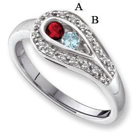 white gold birthstone rings