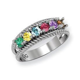 14k Mother's Ring with Six Birthstones Mother's Rings deBebians