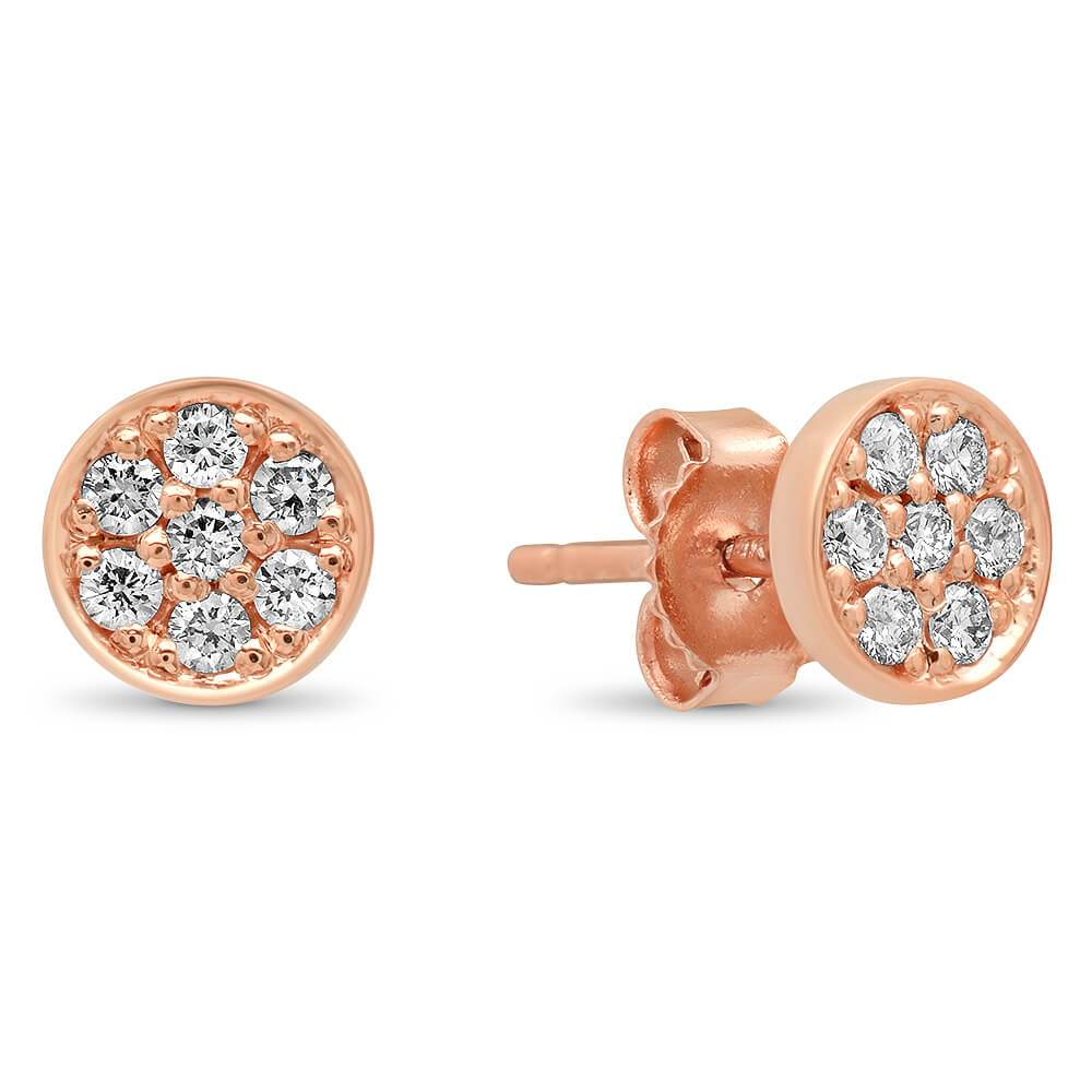 14k Gold Large Circle Pave Diamond Stud Earrings Earrings deBebians