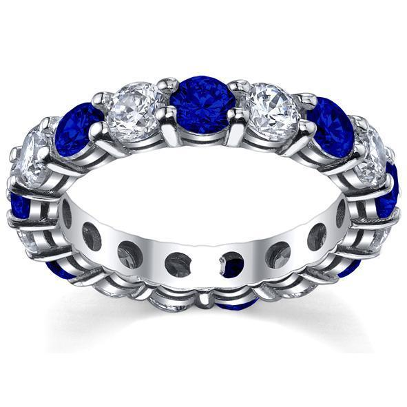 4.00cttw Diamond and Sapphire Eternity Ring Gemstone Eternity Rings deBebians