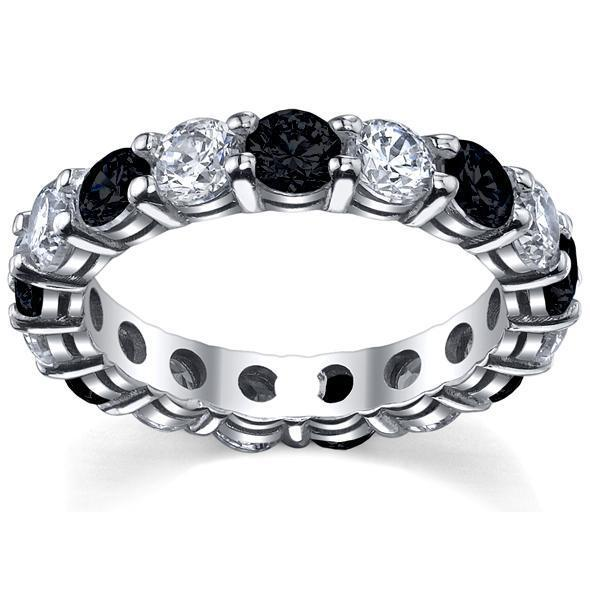 White Diamonds & Black Diamonds Eternity Wedding Ring Gemstone Eternity Rings deBebians