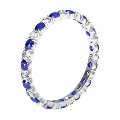 1.00cttw Diamond and Sapphire Eternity Ring Gemstone Eternity Rings deBebians
