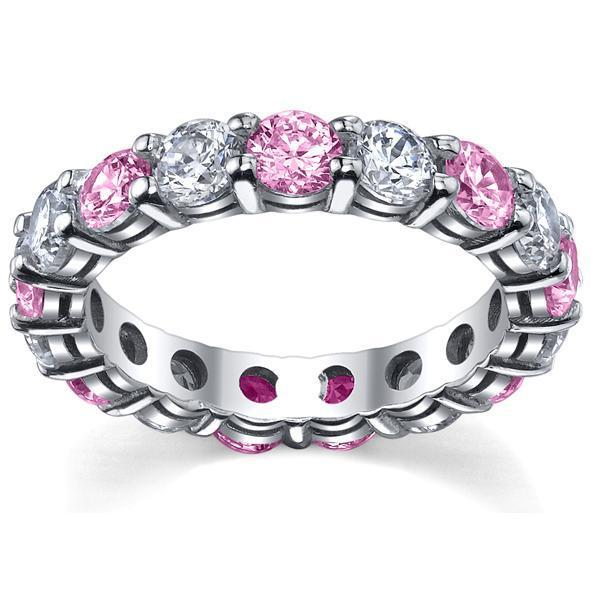 4.00cttw Pink Sapphires and Diamonds Eternity Band Gemstone Eternity Rings deBebians
