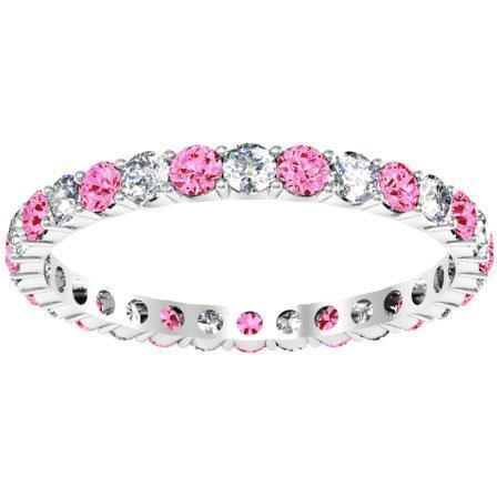 1.00cttw Diamond & Pink Sapphire Eternity Ring Gemstone Eternity Rings deBebians