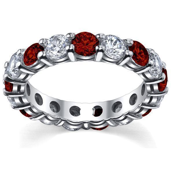 4.00cttw Diamond and Ruby Eternity Ring Gemstone Eternity Rings deBebians