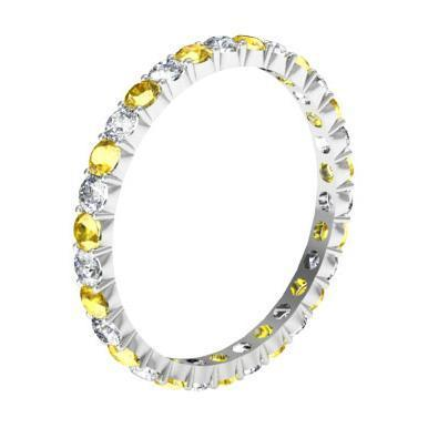 Diamond Yellow Sapphire Eternity Ring 1.00cttw Gemstone Eternity Rings deBebians
