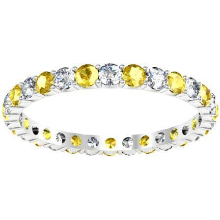 Diamond Yellow Sapphire Eternity Wedding Band Gemstone Eternity Rings deBebians