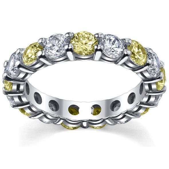 Yellow Sapphire and Diamond Eternity Ring Gemstone Eternity Rings deBebians