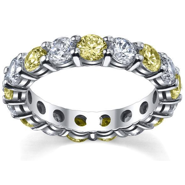 4 Carat Yellow Sapphire and Diamond Eternity Wedding Band Gemstone Eternity Rings deBebians