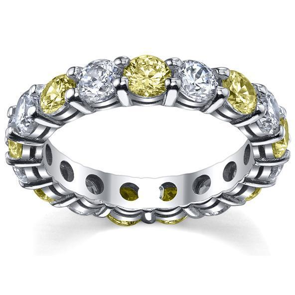 Yellow Sapphire and Diamonds Eternity Band Gemstone Eternity Rings deBebians