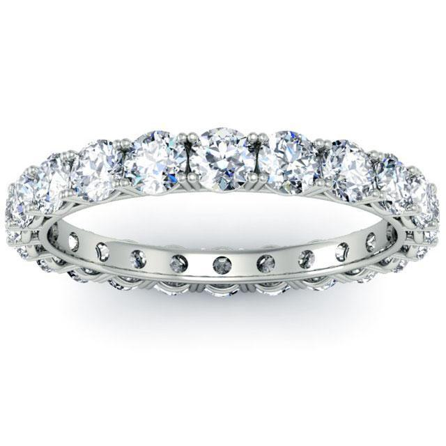 Round Four Prong Diamond Eternity Band - 2.00 carat - I1 Clarity Diamond Eternity Rings deBebians