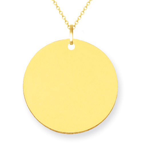 14kt Gold Engravable Disc Pendant 17mm Personalized Necklaces deBebians