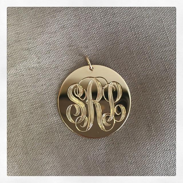 14kt Gold Disc Pendant Necklace 23mm Personalized Necklaces deBebians
