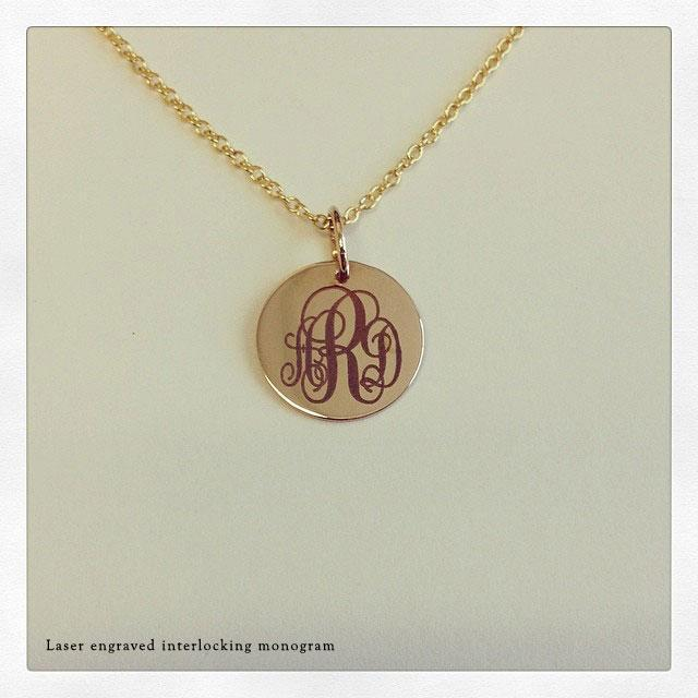 14kt Gold Disc Pendant 12mm Personalized Necklaces deBebians