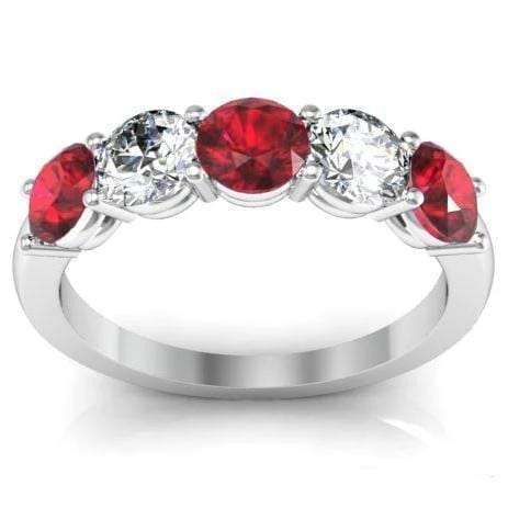 1.50cttw Shared Prong Ruby and Diamond 5 Stone Ring Five Stone Rings deBebians