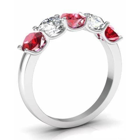 1.50cttw U Prong Ruby and Diamond 5 Stone Band Five Stone Rings deBebians