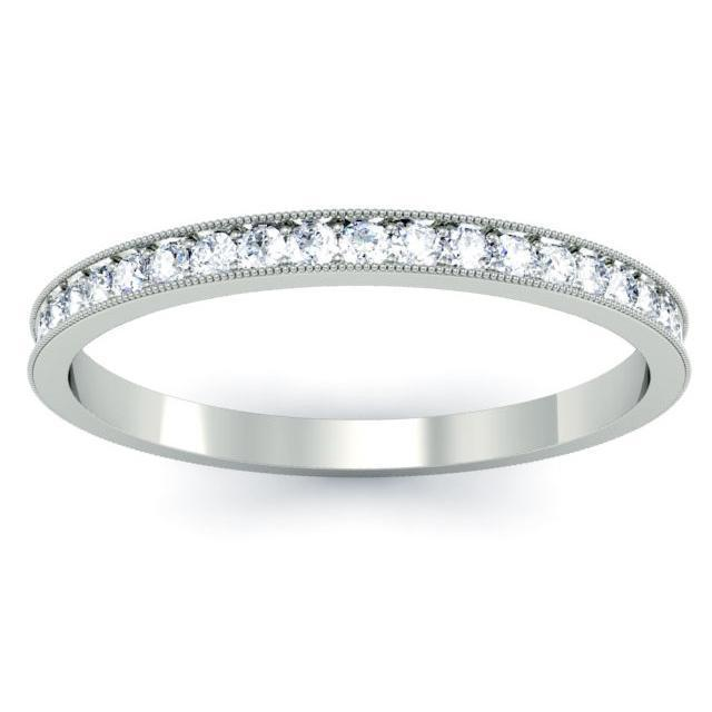 Pave Half Round Diamond Eternity Rings Milgrain Half Eternity Rings deBebians