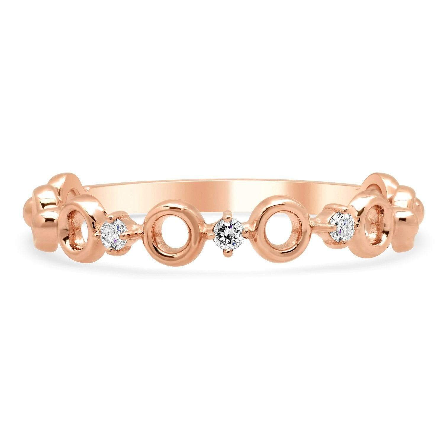 Three Diamond Rose Gold Dainty Wedding Ring Ready-To-Ship deBebians