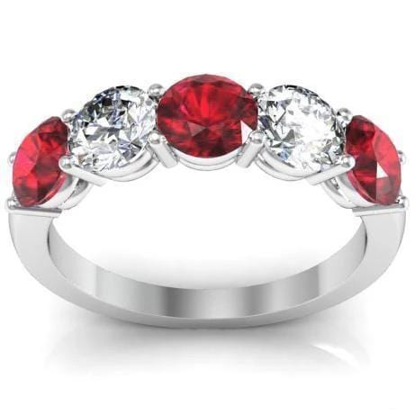 2.00 cttw Ruby and I1 Diamond 5 Stone Ring
