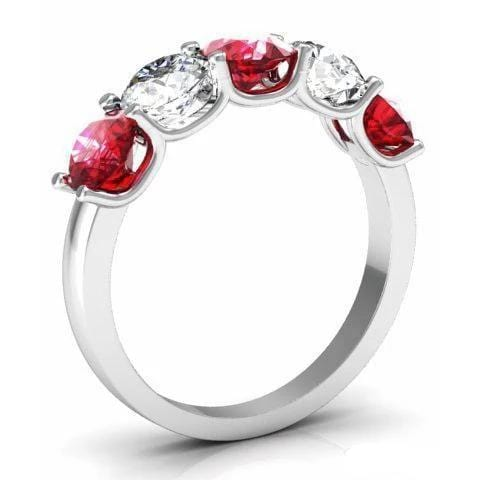 2.00cttw U Prong Ruby and Diamond 5 Stone Band Five Stone Rings deBebians