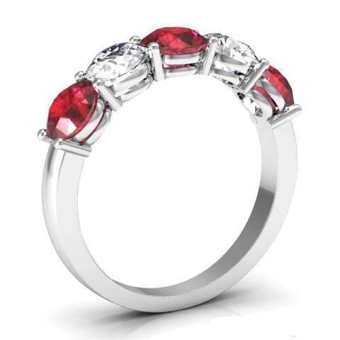 2.00cttw Shared Prong Ruby and Diamond 5 Stone Ring Five Stone Rings deBebians