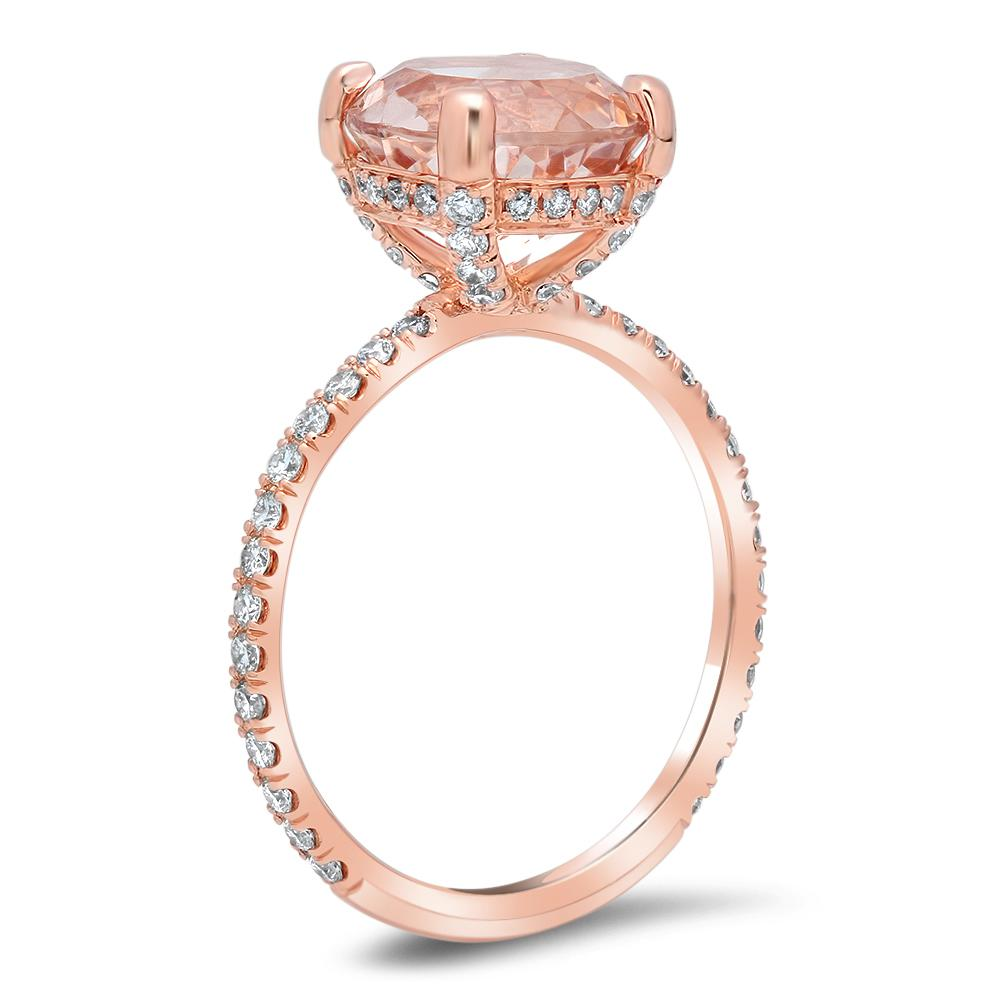 Round Morganite Pave Diamond Basket Engagement Ring