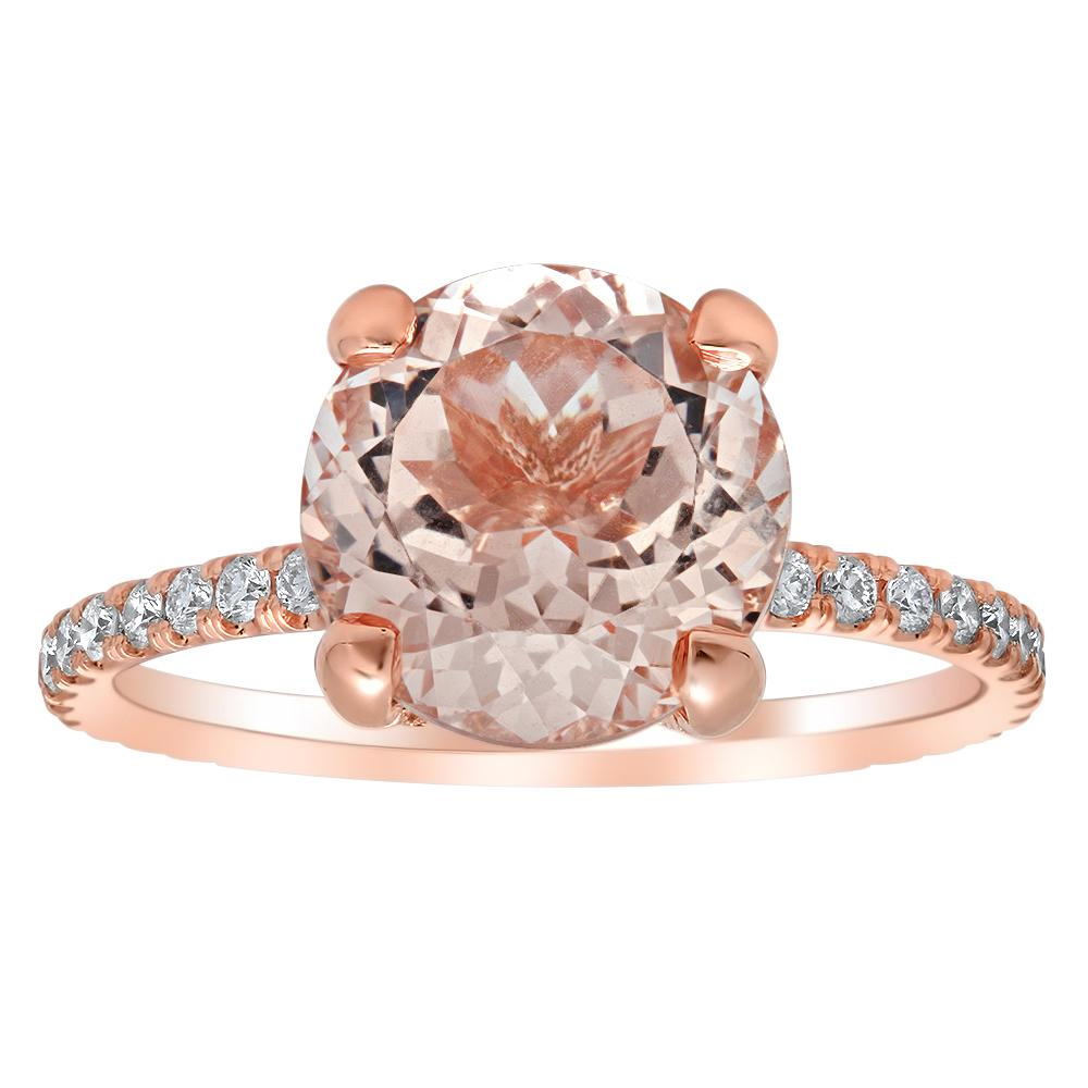 Round Morganite Pave Diamond Basket Engagement Ring Rose Gold & Morganite Engagement Rings deBebians