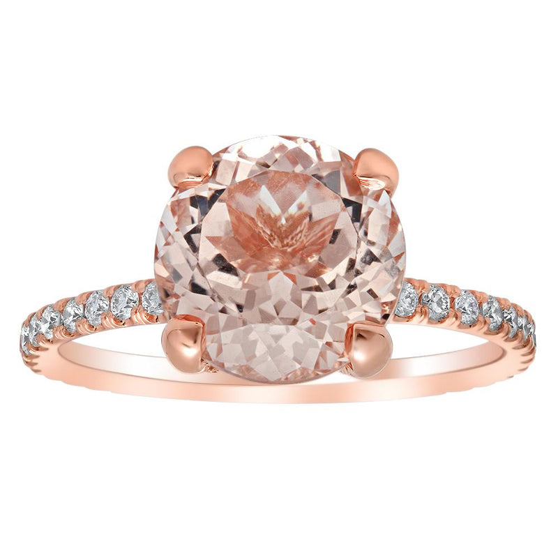 Cushion Morganite Solitaire with Twisted Rose Gold Band