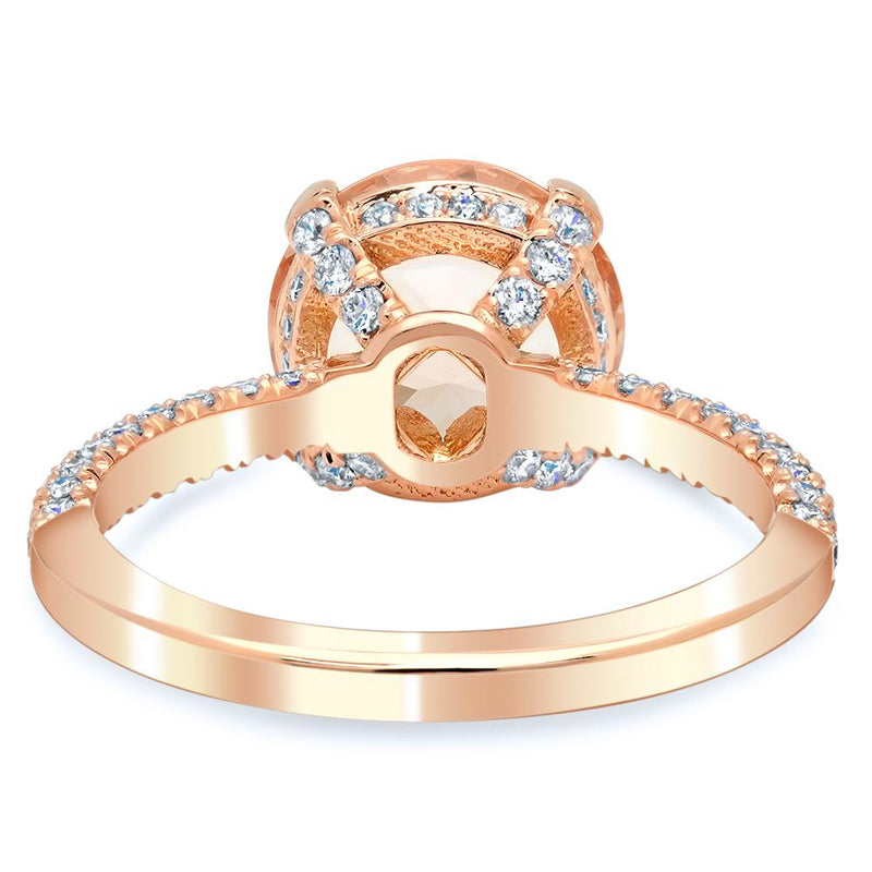 Three Sided Pave Diamond Ring With Round Morganite Rose Gold & Morganite Engagement Rings deBebians