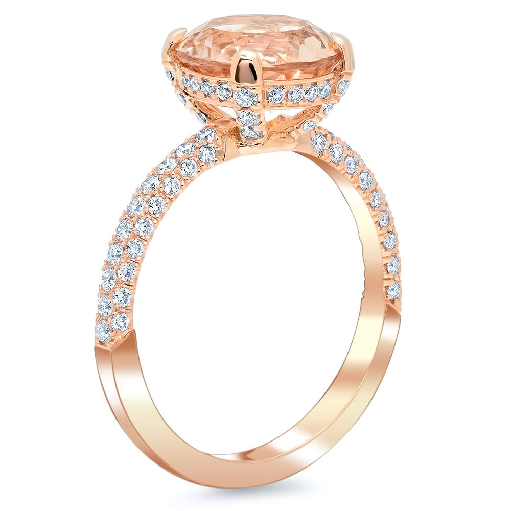 Three Sided Pave Diamond Ring With Round Morganite