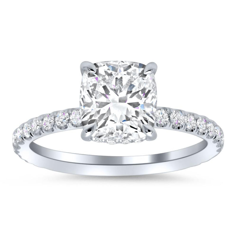 Pave Hidden Basket Diamond Accented Delicate Engagement Ring