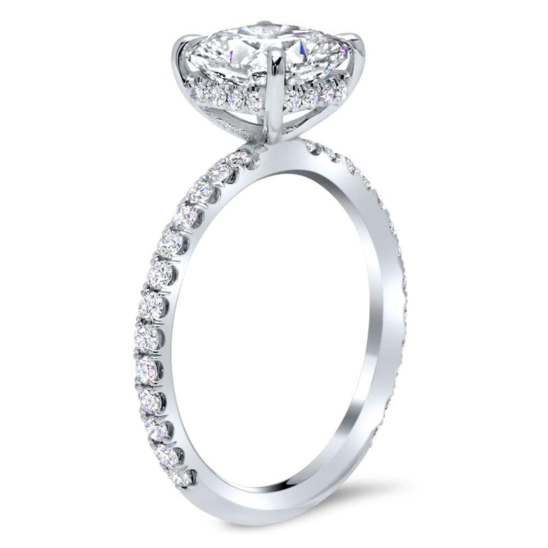 Petite Pave Engagement Ring Setting Diamond Accented Engagement Rings deBebians