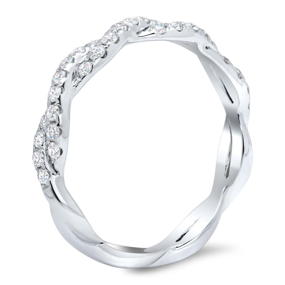 Twisting Pave Diamond Wedding Ring