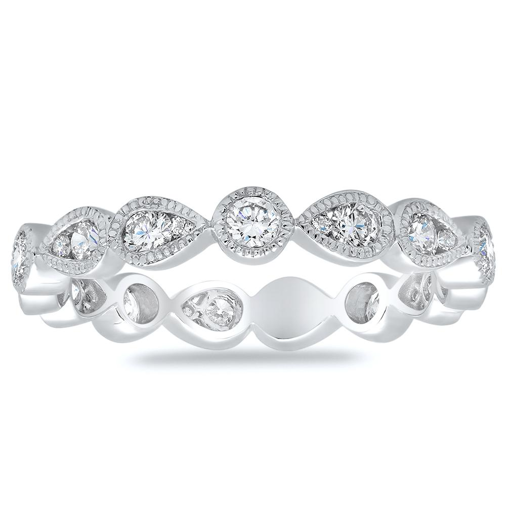 Pear and Round Milgrain Eternity Diamond Ring Diamond Eternity Rings deBebians