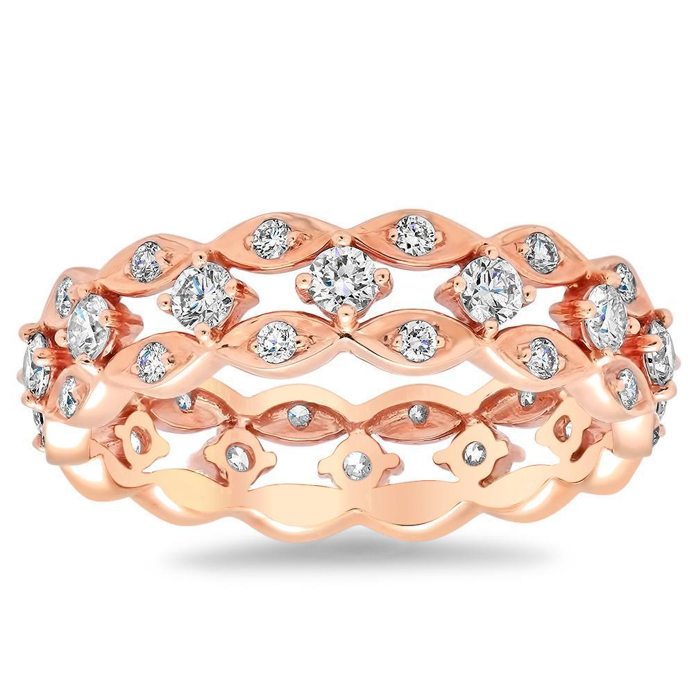 Three Row Round Diamond Eternity Ring in 18kt Rose Gold Ready-To-Ship deBebians