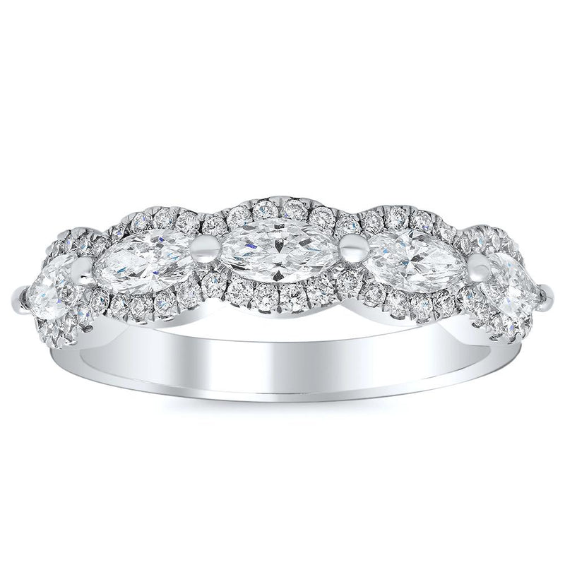 Pear and Round Milgrain Eternity Diamond Ring