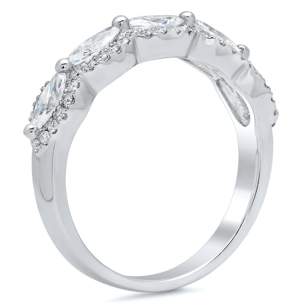 Five Stone Marquise Diamond Halo Wedding Ring in 18kt White Gold Ready-To-Ship deBebians