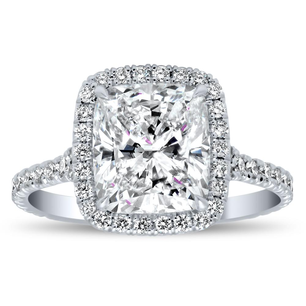 French Cut Pave Diamond Halo Engagement Ring