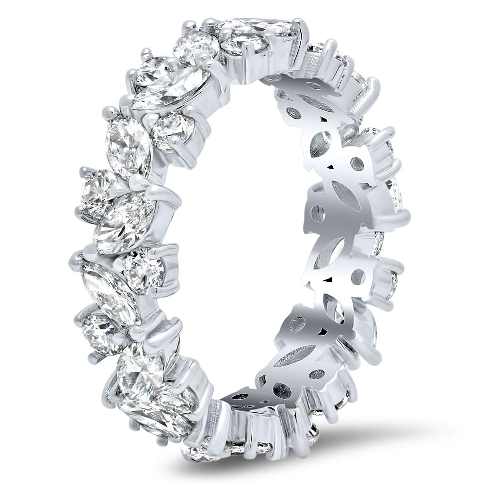 Marquise and Round Diamond Gardenia Eternity Ring