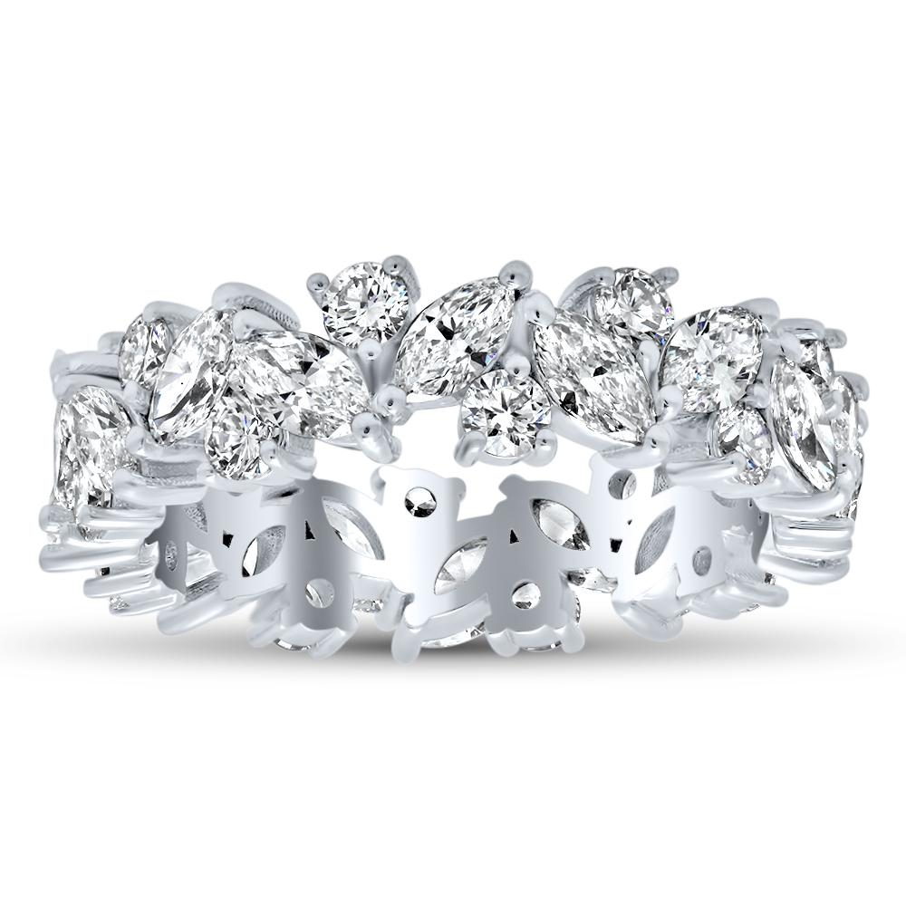 The Gardenia - Round Diamond and Marquise Eternity Band Diamond Eternity Rings deBebians