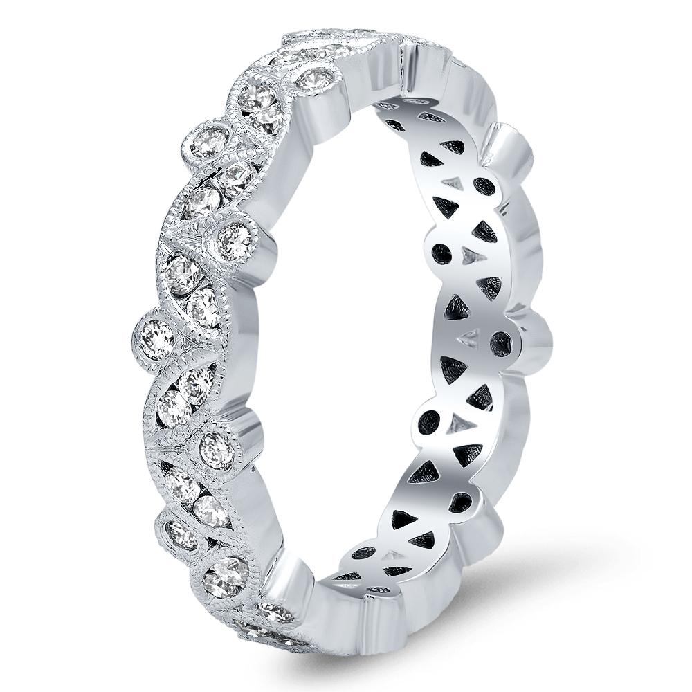 Marquise and Round Diamond Eternity Ring with Milgrain 14kt White Gold Ready-To-Ship deBebians