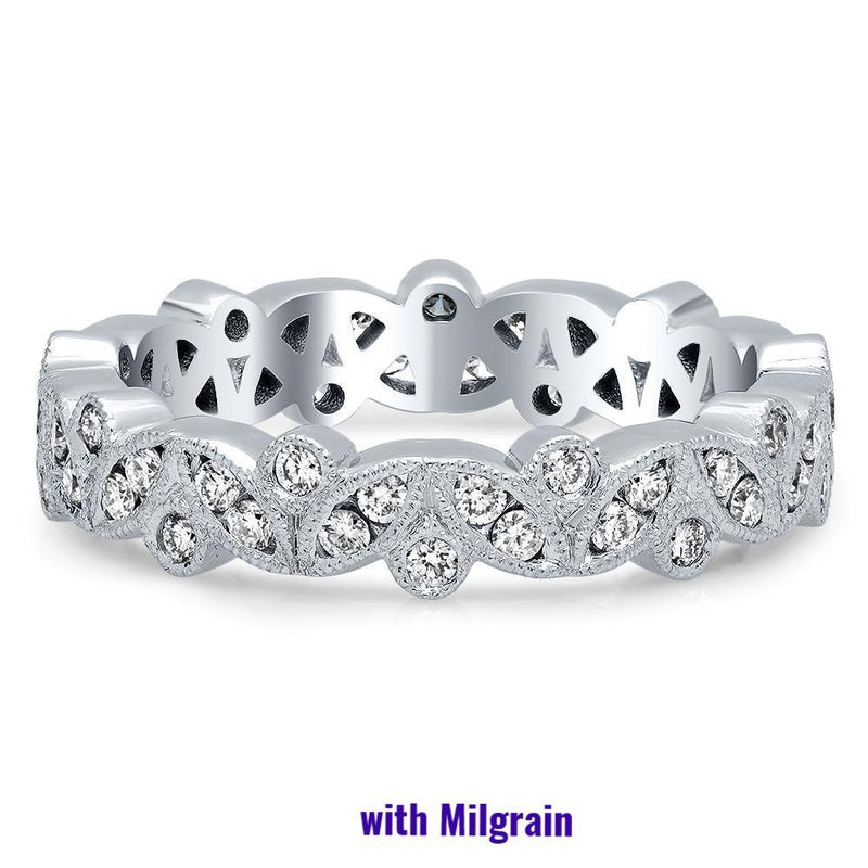 Marquise & Round Diamond Channel & Bezel Set Eternity Ring - 0.50 cttw